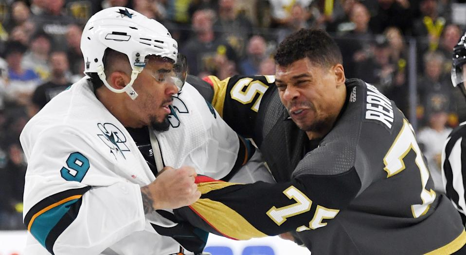 The battle on the ice between San Jose's Evander Kane and Vegas' Ryan Reaves has been top-notch entertainment. Off it, not so much. (Photo by Ethan Miller/Getty Images)