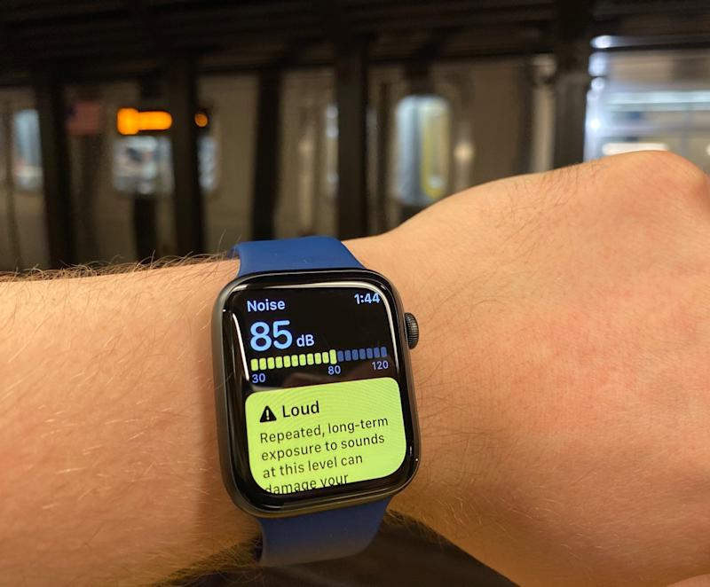 The Apple Watch Series 5's Noise app lets you know if you're in an environment that could hurt your hearing in the long term, such as this subway station. (Image: Howley)