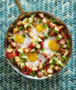 """<p><strong>Recipe: <a href=""""https://www.southernliving.com/syndication/potato-egg-avocado-hash"""" rel=""""nofollow noopener"""" target=""""_blank"""" data-ylk=""""slk:Potato, Egg, and Avocado Hash"""" class=""""link rapid-noclick-resp"""">Potato, Egg, and Avocado Hash</a></strong></p> <p>Here's one breakfast that won't be short on flavor. Red bell peppers, cilantro, scallions, and avocado provide a savory Southwest flavor that you'll love.</p>"""