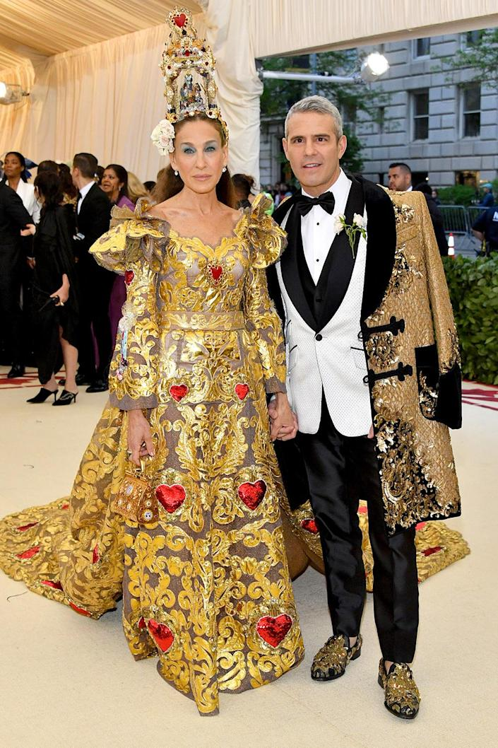 """<p>We couldn't help but wonder ... what if their evening was free? The <em>Watch What Happens Live</em> host cited a prior commitment in explaining why he and his longtime Met Gala date Sarah Jessica Parker <a href=""""https://people.com/style/andy-cohen-skipping-2021-met-gala-sarah-jessica-parker/"""" rel=""""nofollow noopener"""" target=""""_blank"""" data-ylk=""""slk:wouldn't be able to make"""" class=""""link rapid-noclick-resp"""">wouldn't be able to make</a> the big night out this year.</p> <p><a href=""""https://www.youtube.com/watch?v=Hk5TBFv0q2k&t=812s"""" rel=""""nofollow noopener"""" target=""""_blank"""" data-ylk=""""slk:&quot;My date is filming this year"""" class=""""link rapid-noclick-resp"""">""""My date is filming this year</a>. She's filming <em>And Just Like That...</em>,"""" Cohen told <em><a href=""""https://www.youtube.com/watch?t=812&v=Hk5TBFv0q2k&feature=youtu.be"""" rel=""""nofollow noopener"""" target=""""_blank"""" data-ylk=""""slk:Access Hollywood"""" class=""""link rapid-noclick-resp"""">Access Hollywood</a></em> in August of the actress' <em>Sex and the City</em> revival.</p>"""