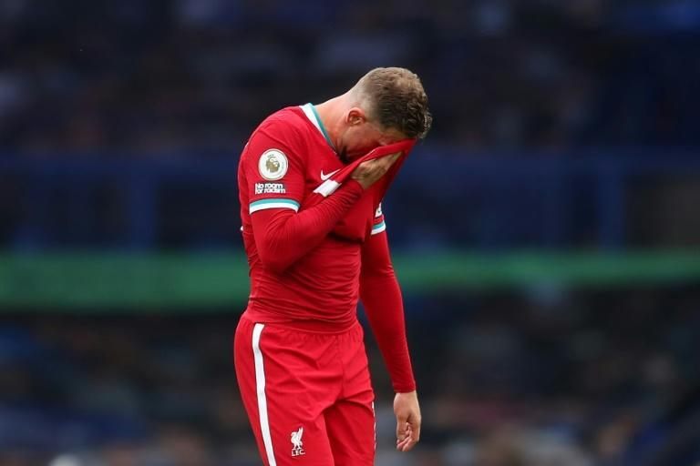 Liverpool captain Jordan Henderson reacts at the final whistle of the Premier League match against Everton
