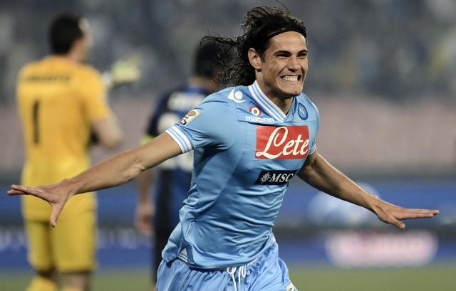 SSC Napoli's forward Edinson Cavani postures after scoring during the italian Serie A football match SSC Napoli vs Inter Milan at San Paolo Stadium in Naples on May 5, 2013. AFP PHOTO / ROBERTO SALOMONEROBERTO SALOMONE/AFP/Getty Images