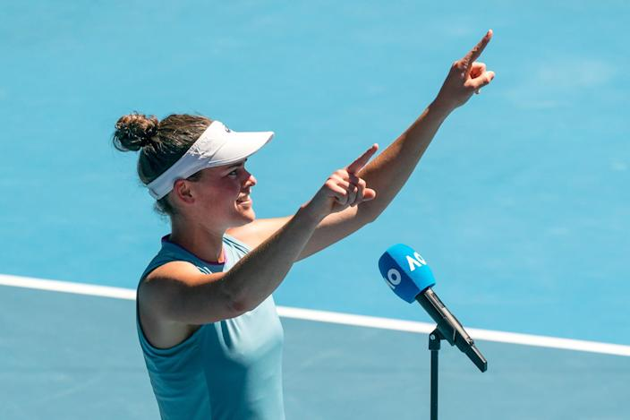 <p>Brady told POPSUGAR that, before a match, she always has a chat about her opponent with her coach, Michael Geserer. Then, leading up to when she walks onto the court, she'll listen to some music.</p>
