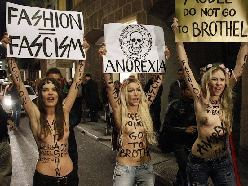 Oksana and Femen protested against the exploitation of models during Milan Fashion Week in 2012 (EPA)