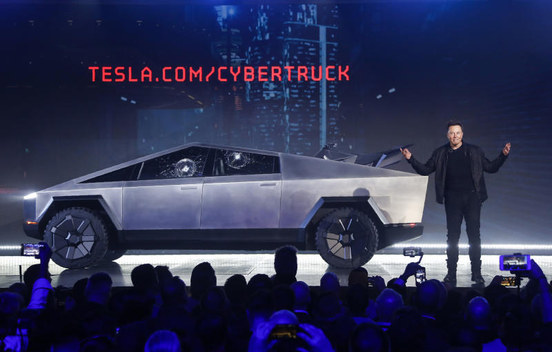 Tesla is up roughly 15% since CEO Elon Musk introduced the Cybertruck at Tesla's design studio in Hawthorne, California this November. (AP Photo/Ringo H.W. Chiu, File)