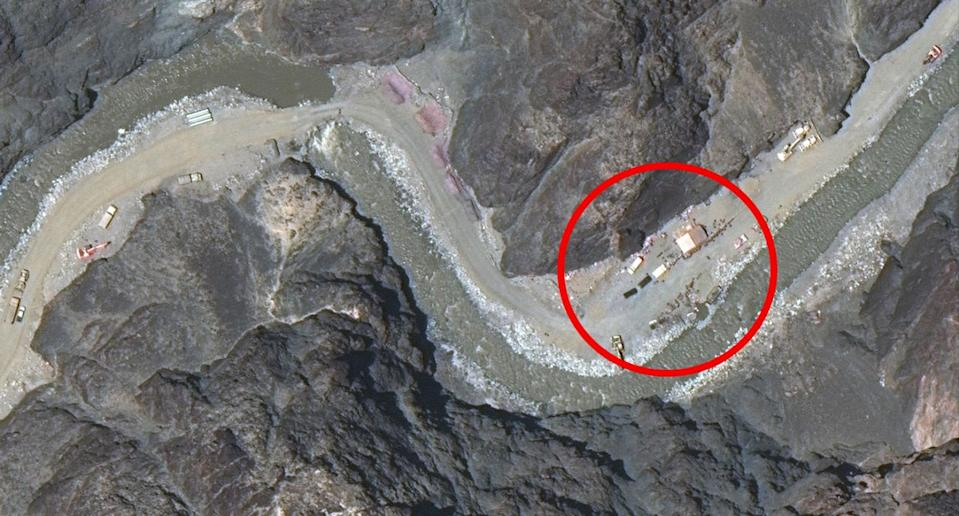 Pictured is a red circle around Chinese structures in the Galwan Valley seen on a satellite image.