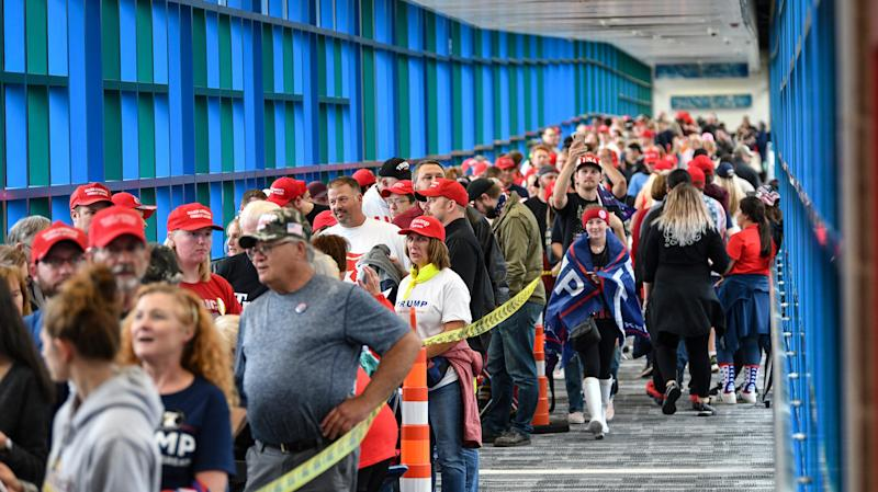 Skywalks are filled with Donald Trump supporters waiting in line more than five hours before the start of a rally Thursday, Oct. 10, 2019, at the Target Center in Minneapolis.