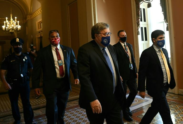 US Attorney General William Barr leaves after meeting with Senate Majority Leader Mitch McConnell on Capitol Hill in Washington