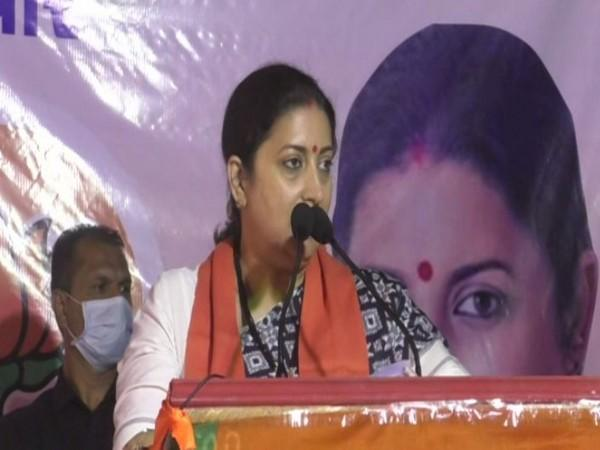 Union Minister and BJP leader Smriti Irani speaking at an election rally in Vadodara on Friday. Photo/ANI