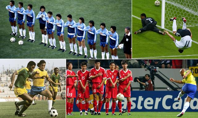 Clockwise from top left: El Salvador line up against Hungary in 1982; Germany's Miroslav Klose celebrates after scoring against Saudi Arabia in 2002; Roberto Carlos fires in Brazil's first goal against China in 2002; Zaire and Brazil battle for the ball in 1974.