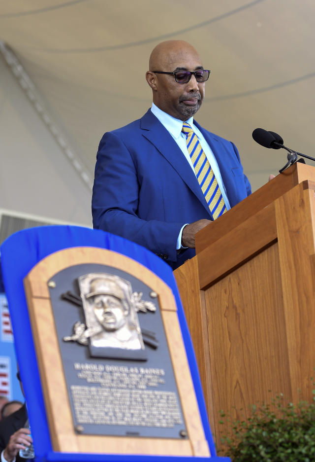 Former player for the Chicago White Sox and the Baltimore Orioles and National Baseball Hall of Fame inductee Harold Baines speaks during the induction ceremony at the Clark Sports Center on Sunday, July 21, 2019, in Cooperstown, N.Y. (AP Photo/Hans Pennink)