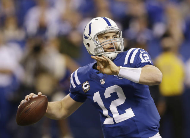 Indianapolis Colts quarterback Andrew Luck (12) throws during the first half of an NFL wild-card playoff football game against the Kansas City Chiefs Saturday, Jan. 4, 2014, in Indianapolis. (AP Photo/Michael Conroy)