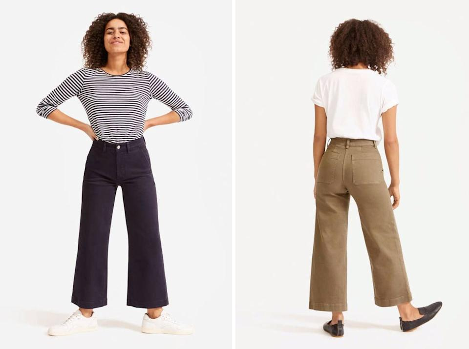 """The trendy cut, massive pockets (four!) and high-quality cotton construction will make sure these become your favorite (and go-to) pants as soon as they arrive.<br /><br /><strong>Promising review</strong>: """"<strong>I've honestly been searching my whole life for that one style of pants that I can buy over and over again. At last, I've found them!</strong>These pants are so comfortable, stylish and they fit like a glove.<strong>Needless to say, I have them in three colors.</strong>I'll continue buying these year after year. *P.S. I have these in two different sizes. I recommend sizing down one size for a more fitted feel and staying true to size for a more relaxed fit. Both are great."""" —<a href=""""https://go.skimresources.com?id=38395X987171&xs=1&xcust=HPClothesMultipleColors-60a27070e4b063dcceac389d-&url=https%3A%2F%2Fwww.everlane.com%2Fproducts%2Fwomens-hirise-wide-crop-pant-navy"""" target=""""_blank"""" rel=""""nofollow noopener noreferrer"""" data-skimlinks-tracking=""""5876227"""" data-vars-affiliate=""""Pepperjam"""" data-vars-campaign=""""MultipleColorsStuart-2-23-21-5876227"""" data-vars-href=""""https://www.pjatr.com/t/TEFNS0VFQUVLRU1GRUFFREhLRE0?sid=MultipleColorsStuart-2-23-21-5876227&url=https%3A%2F%2Fwww.everlane.com%2Fproducts%2Fwomens-hirise-wide-crop-pant-navy"""" data-vars-keywords=""""cleaning"""" data-vars-link-id=""""16401020"""" data-vars-price="""""""" data-vars-product-id=""""20980865"""" data-vars-product-img=""""https://media.everlane.com/image/upload/c_fill,dpr_1.0,f_auto,g_face:center,q_auto,w_auto:100:748/v1/i/cf61ae2b_e547.jpg"""" data-vars-product-title=""""The Wide-Leg Crop Pant"""" data-vars-redirecturl=""""https://www.everlane.com/products/womens-hirise-wide-crop-pant-navy"""" data-vars-retailers=""""everlane"""" data-ml-dynamic=""""true"""" data-ml-dynamic-type=""""sl"""" data-orig-url=""""https://www.pjatr.com/t/TEFNS0VFQUVLRU1GRUFFREhLRE0?sid=MultipleColorsStuart-2-23-21-5876227&url=https%3A%2F%2Fwww.everlane.com%2Fproducts%2Fwomens-hirise-wide-crop-pant-navy"""" data-ml-id=""""52"""">KLMO</a><br /><br /><a href=""""https://go.skimresources.com"""