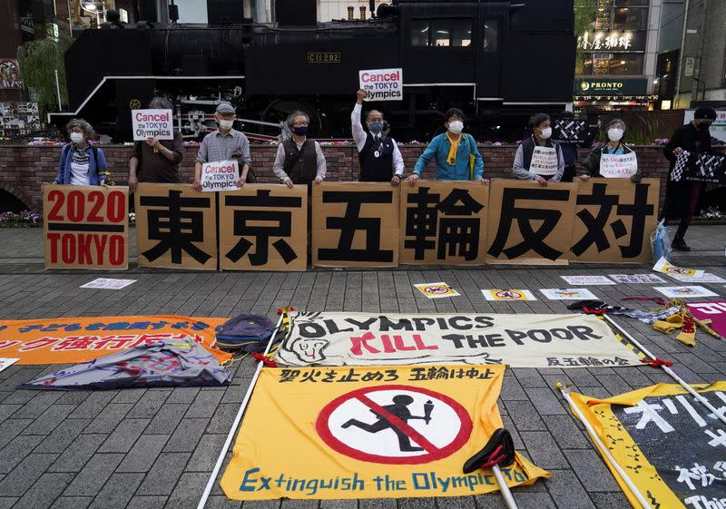 Anti-Olympics group members hold protest rally in Tokyo