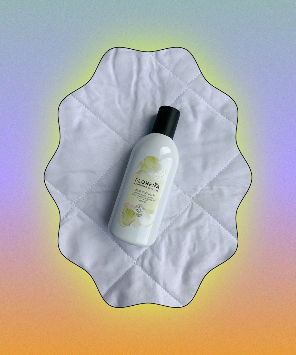 """This cleanser smells divine! The texture is very milky so it doesn't lather up but it works really well to remove tough makeup like mascara and lipstick, and makes skin feel hydrated and dewy afterwards. <br><br><strong>Florena Fermented Skincare</strong> Milky Cleanser, $, available at <a href=""""https://www.boots.com/florena-fermented-skincare-milky-face-cleanser-200ml-10293217"""" rel=""""nofollow noopener"""" target=""""_blank"""" data-ylk=""""slk:Boots"""" class=""""link rapid-noclick-resp"""">Boots</a>"""