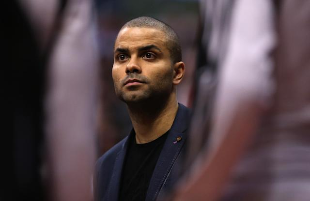 LOS ANGELES, CA - FEBRUARY 18: Tony Parker of the San Antonio Spurs looks on from the bench against the Los Angeles Clippers in the first half at Staples Center on February 18, 2014 in Los Angeles, California. (Photo by Jeff Gross/Getty Images)