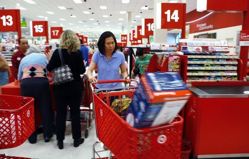Shoppers checkout at a Target store in Virginia