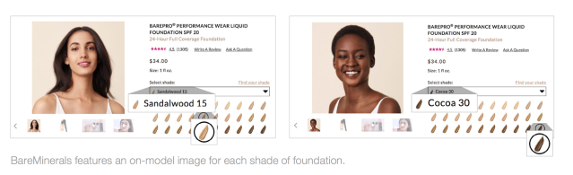 BareMinerals features an on-model image for each shade of foundation, which allows shoppers to compare how different shades look on someone with a similar complexion. (Photo: L2 Insights)