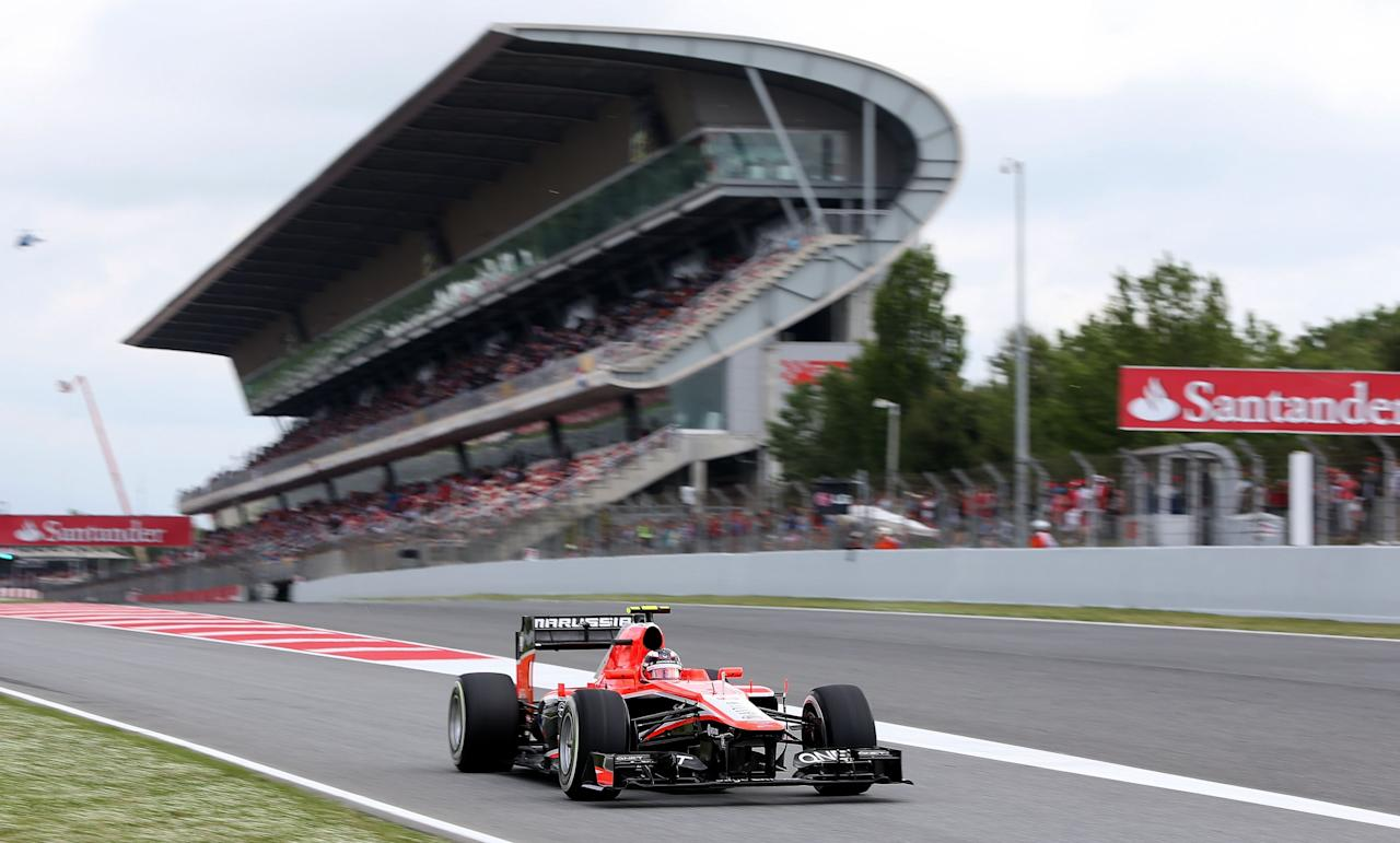 Marussia's Max Chilton during third practice at the Circuit de Catalunya, Barcelona.