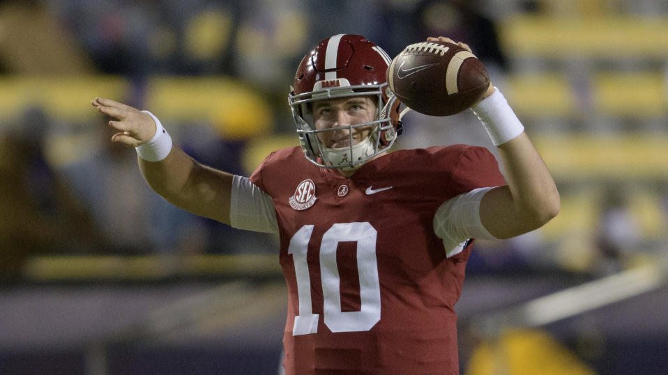 Alabama quarterback Mac Jones has a chance to crack the first round next year. (AP Photo/Matthew Hinton)