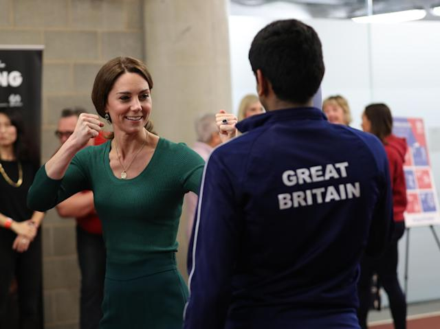 The Duchess of Cambridge is shown Tae Kwon Do moves at the stadium. (Press Association)