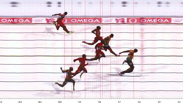 LONDON, ENGLAND - AUGUST 05: In this handout photo finish image supplied by Omega, Usain Bolt of Jamaica wins the Men's 100m Final on Day 9 of the London 2012 Olympic Games at the Olympic Stadium on August 5, 2012 in London, England. (Photo by Omega via Getty Images)