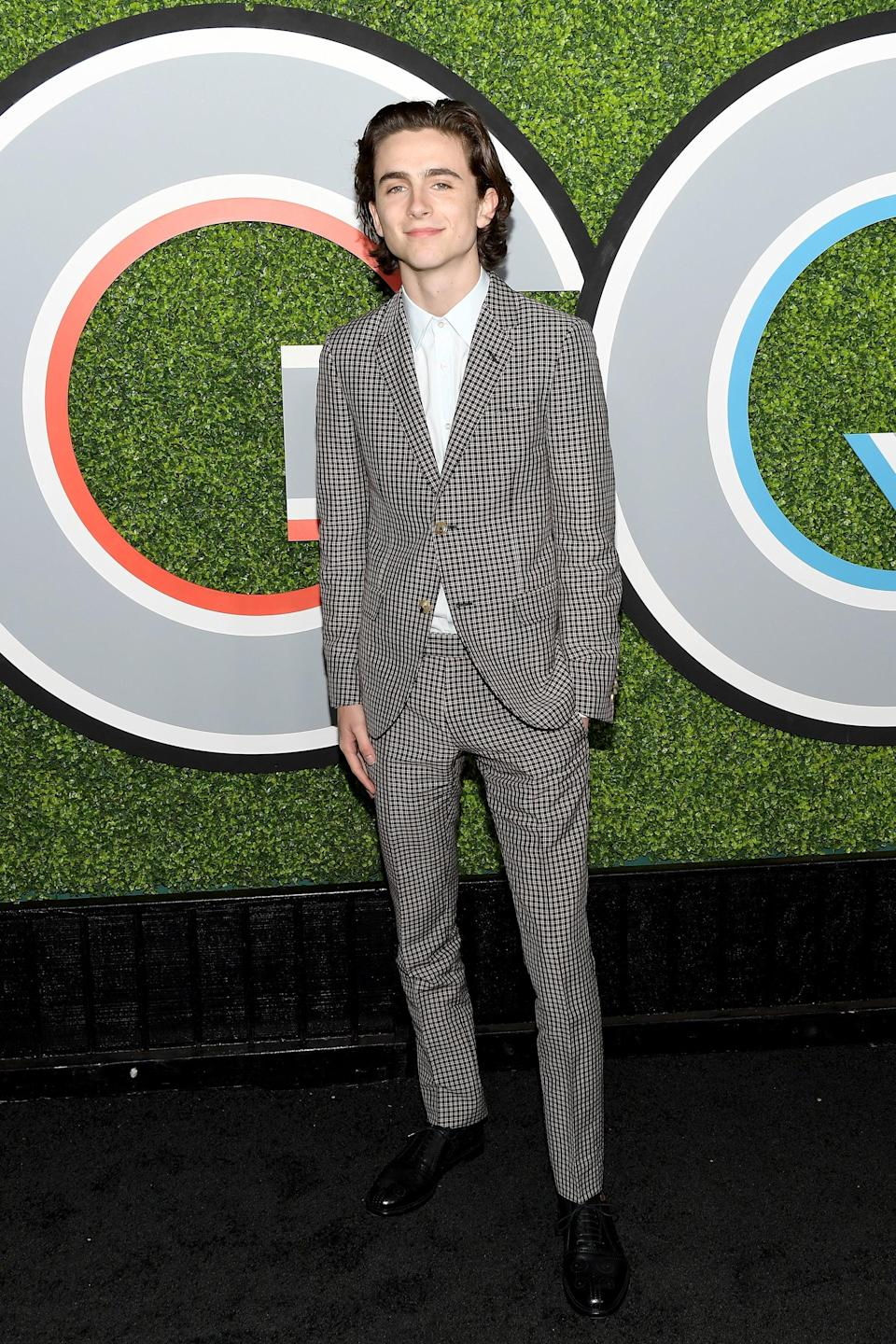 "<h2>Gucci</h2>He didn't receive the coveted #1 <em>GQ</em> Man of the Year title, but one thing's for sure: Timothée Chalamet is the man of <em>our</em> year. <span class=""copyright"">Photo: Matt Winkelmeyer/Getty Images.</span>"