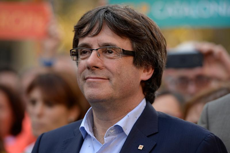 Carles Puigdemont attends a pro-independence demonstration on Oct. 21.