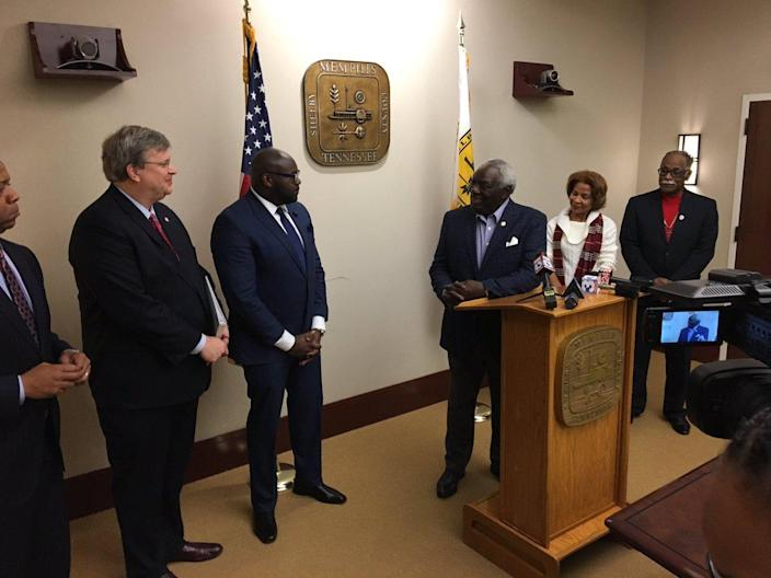 Walter Bailey stands at the podium following the removal of the Forrest statue, joined by (left to right) Mayor Jim Strickland, City Council Chairman Berlin Boyd, his wife Carolyn Bailey and Pastor Lasimba Gray. (Photo: Kyle Veazey)