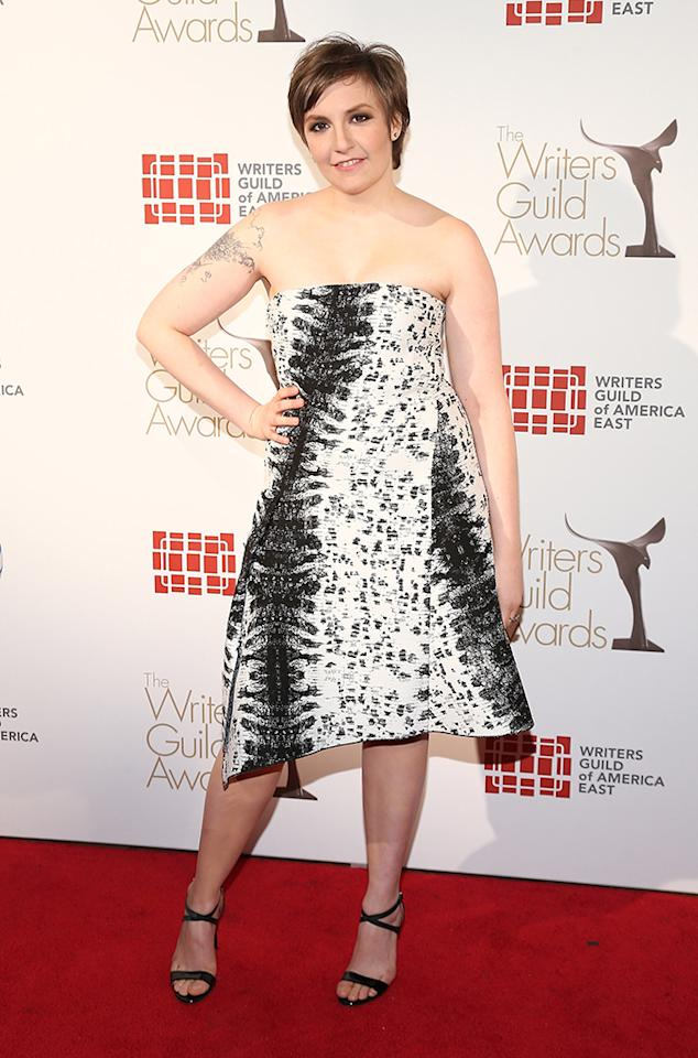 Lena Dunham attends the 65th annual Writers Guild East Coast Awards at B.B. King Blues Club & Grill on February 17, 2013 in New York City.  (Photo by Neilson Barnard/Getty Images)