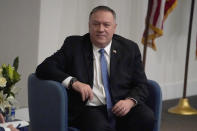 Secretary of State Mike Pompeo speaks at Georgia Tech, Wednesday, Dec. 9, 2020, in Atlanta. (AP Photo/John Bazemore)