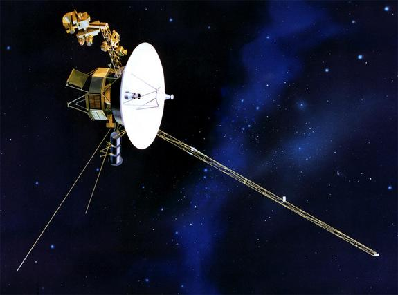 An artist's illustration of NASA's Voyager 1 spacecraft, the farthest human-built object from Earth, which launched in 1977 and is headed for interstellar space.
