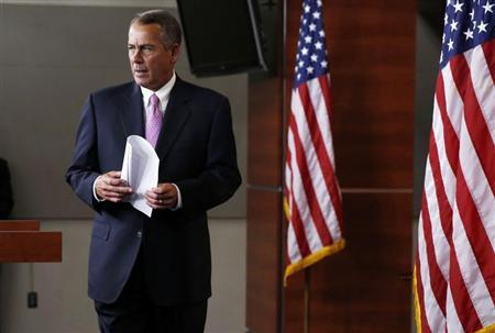 U.S. Speaker of the House John Boehner walks out during his weekly news conference on Capitol Hill in Washington