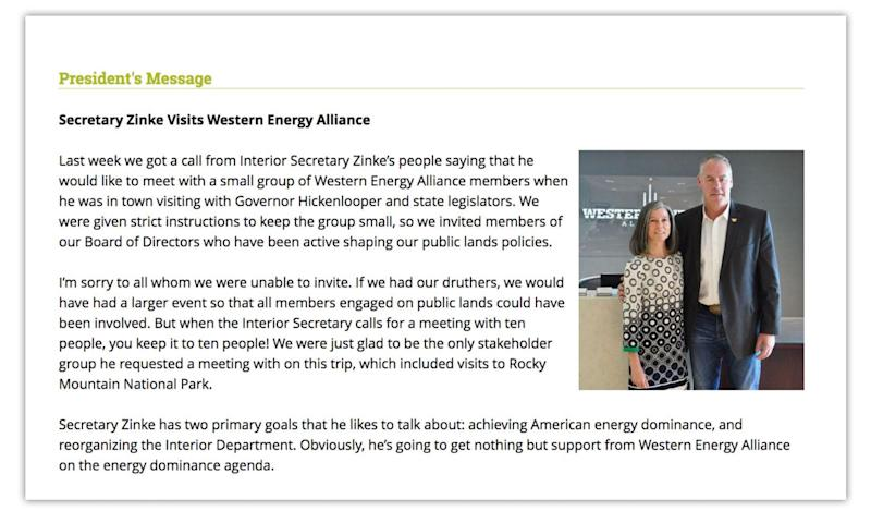 Letter sent to Western Energy Alliance by Alliance president Kathleen Sgamma via email, pictured with Interior Secretary Ryan Zinke.