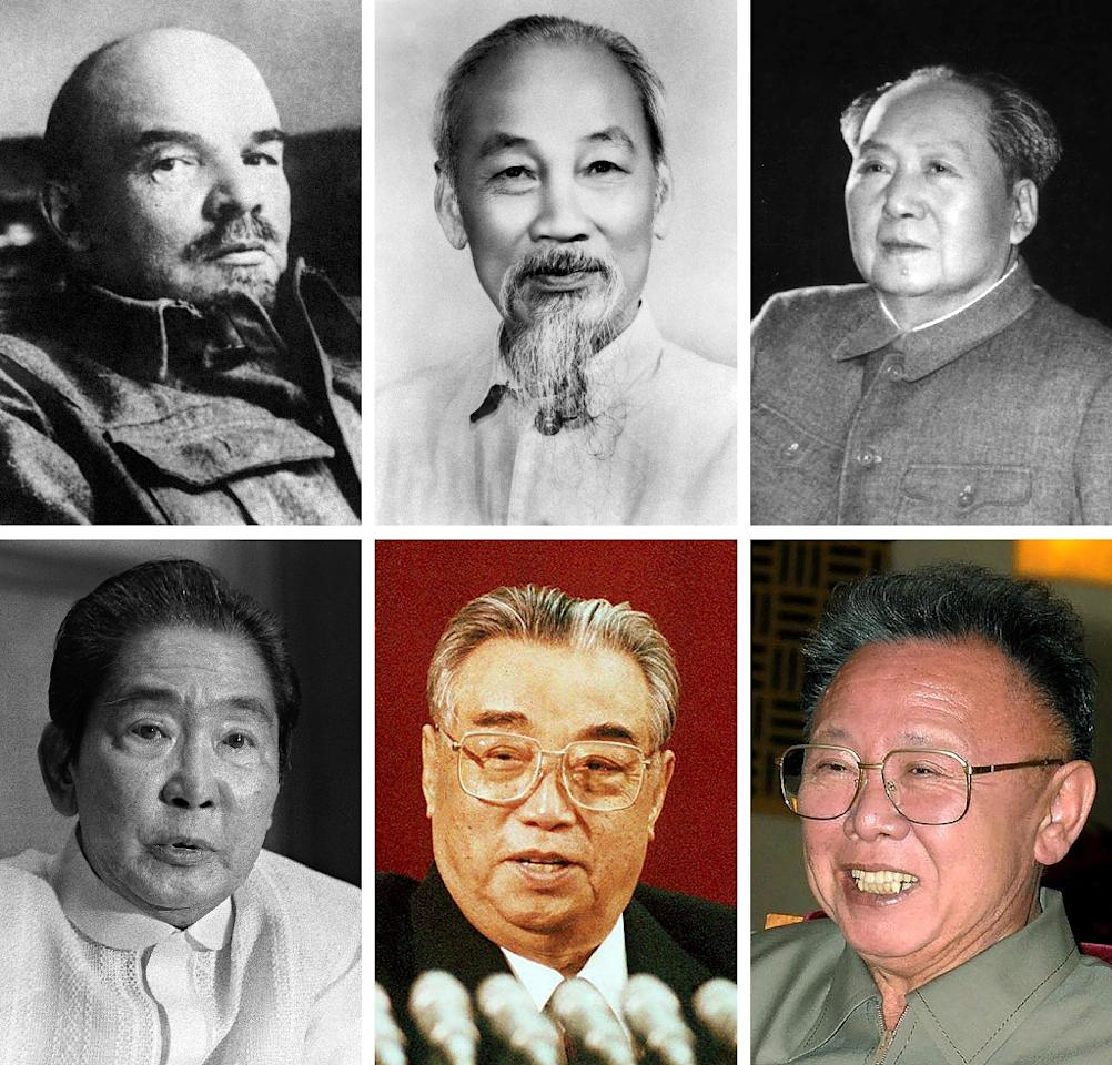 (From top L to R) Lenin, Ho Chi Minh, Mao Zedong, Ferdinand Marcos, Kim Il-Sung and Kim Jong-Il (AFP Photo/-)