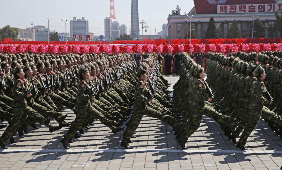 North Korean soldiers march during the parade (Picture: AP)