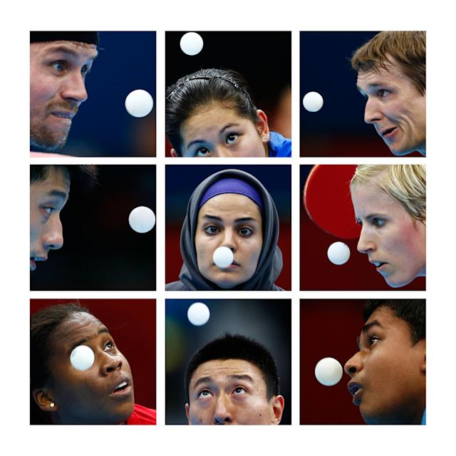 A combination picture shows table tennis players watching the ball during the London 2012 Olympic Games. Players are, top row (L to R), Denmark's Michael Maze, Brazil's Caroline Kumahara, Austria's Werner Schlager. Middle row (L to R) China's Zhang Jike, Iran's Neda Shahsavari, Germany's Kristin Silbereisen. Bottom row (L to R) Colombia's Paula Medina, South Korea's Oh Sangeun, India's Soumyajit Ghosh. Pictures taken on various dates since the start of the Games. REUTERS/Staff (BRITAIN - Tags: OLYMPICS TPX IMAGES OF THE DAY)