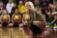 FILE - In this March 8, 2020, file photo, Baylor head coach Kim Mulkey watches from the sideline during an NCAA college basketball game against Iowa State in Ames, Iowa. With the coronavirus pandemic that shut down last season still lingering, Big 12 coaches are preparing for a season they expect to be filled with disruptions that aren't solved by X's and O's, whether being without players because of COVID-19 or not being able to play some games at all. (AP Photo/Charlie Neibergall, File)