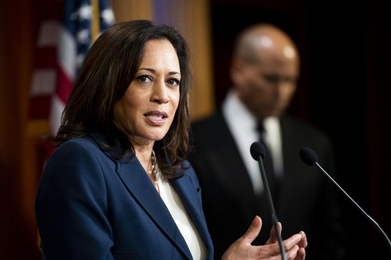 UNITED STATES - JUNE 2: Sen. Kamala Harris, D-Calif., speaks during the Senate Democrats press conference on Tuesday, June 2, 2020, introducing the resolution to condemn President Donald Trump for the tear-gassing of peaceful protesters at the White House on Monday. (Photo By Bill Clark/CQ-Roll Call, Inc via Getty Images)