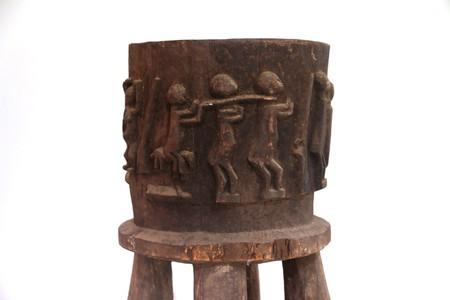 A ritual mortar of the Senoufo ethnic group is displayed as part of the collection at the Museum of Civilizations of Ivory Coast in Abidjan
