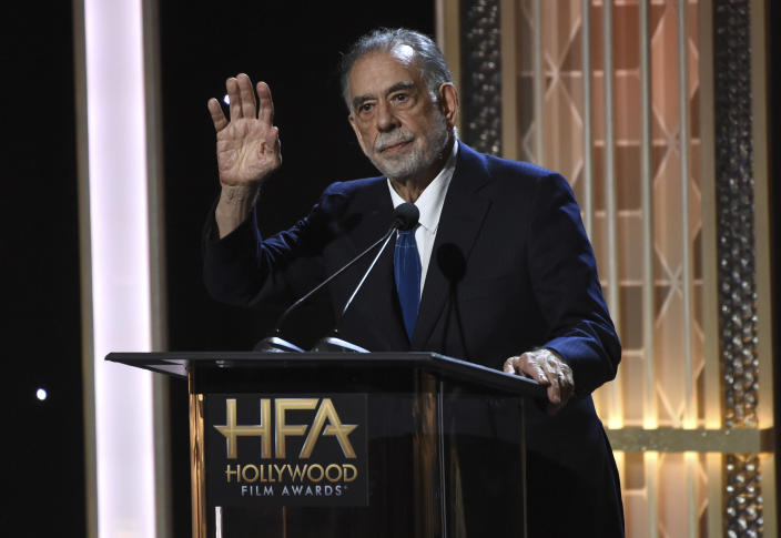 FILE - Francis Ford Coppola presents the Hollywood supporting actor award at the 23rd annual Hollywood Film Awards on Nov. 3, 2019, in Beverly Hills, Calif. Coppola turns 82 on April 7. (Photo by Chris Pizzello/Invision/AP, File)