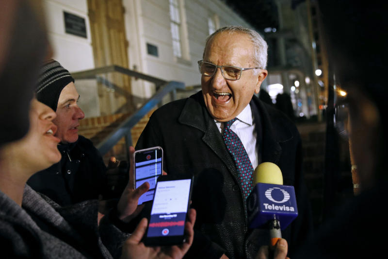 Jesus Seade, Mexican Undersecretary to North America, speaks with members of the media after a meeting at the U.S. Trade Representative's office for talks on the U.S.-Mexico-Canada agreement on trade, Wednesday, Nov. 27, 2019, in Washington. (AP Photo/Patrick Semansky)