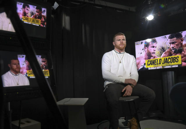 WBC and WBA middleweight boxing champion Canelo Alvarez gives an interview, Thursday Feb. 28, 2019, in New York. Alvarez is slated to fight Daniel Jacobs in a middleweight title unification bout in Las Vegas, on Saturday May, 4, 2019. (AP Photo/Bebeto Matthews)