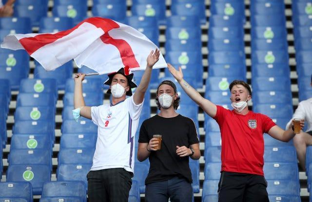 England fans in the stands at the Stadio Olimpico