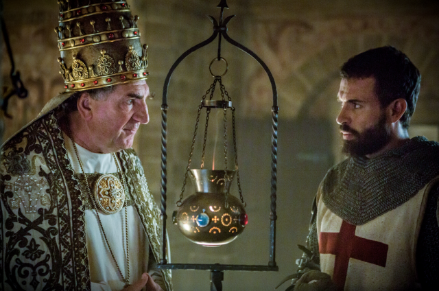 Jim Carter as Pope Boniface VIII of France and Tom Cullen as Templar Knight Landry in <em>Knightfall.</em> (Photo: Larry Horricks/History)