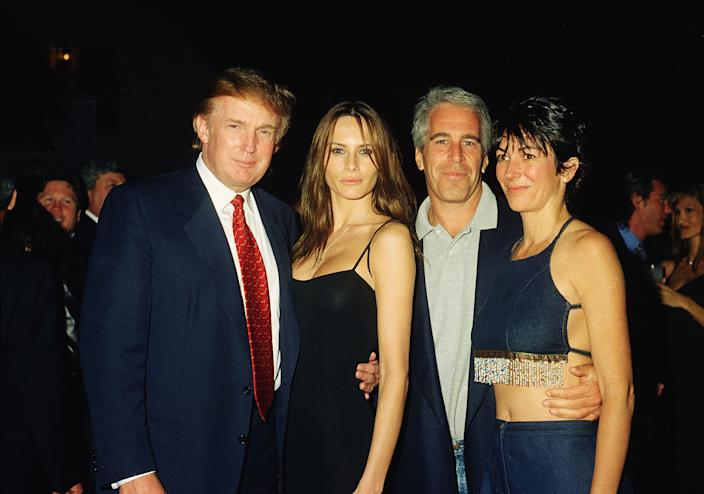 From left, American real estate developer Donald Trump and his girlfriend (and future wife), former model Melania Knauss, financier (and future convicted sex offender) Jeffrey Epstein, and British socialite Ghislaine Maxwell pose together at the Mar-a-Lago club, Palm Beach, Florida, February 12, 2000. (Davidoff Studios/Getty Images)