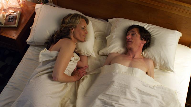 """This publicity photo released by Fox Searchlight Pictures shows Helen Hunt, left, and John Hawkes in a scene from """"The Sessions."""" (AP Photo/Fox Searchlight Pictures)"""