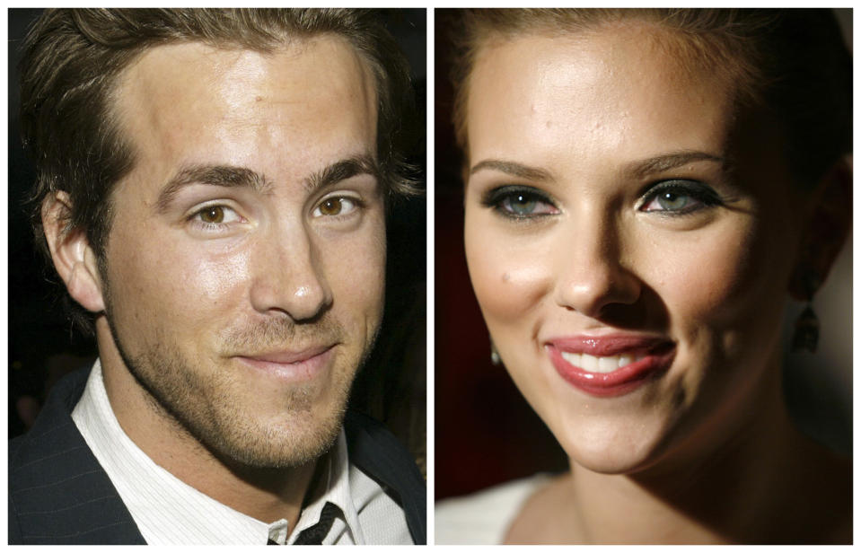 Actor Ryan Reynolds is pictured in Hollywood, California in April 7, 2005 and actress Scarlett Johansson (R) is pictured in New York City in July 26, 2006 in this combination photo. Scarlett Johansson and Ryan Reynolds were married over the weekend, a spokesman for Johansson said. REUTERS/Eric Thayer/Michael Buckner-files (UNITED STATES)