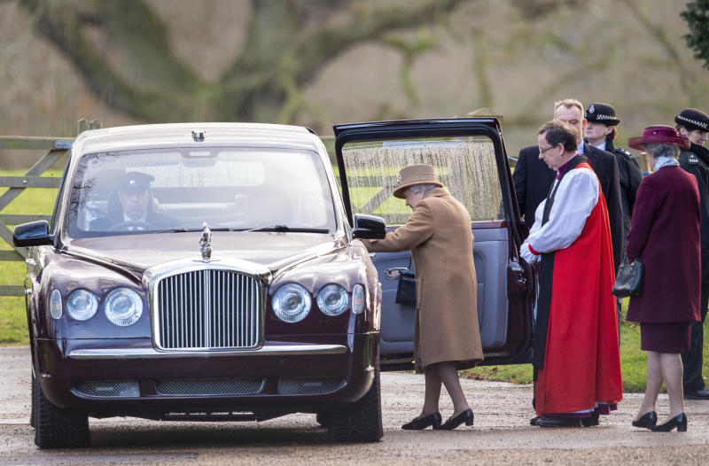"""Britain's Queen Elizabeth II leaves after attending a morning church service at St Mary Magdalene Church in Sandringham, England, Sunday Jan. 12, 2020.   Prince Harry and his wife Meghan have declared they will """"work to become financially independent"""" as part of a surprise announcement saying they wish """"to step back"""" as senior members of the royal family.  (Joe Giddens/PA via AP)"""
