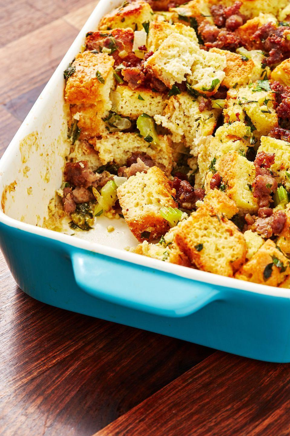 """<p>Even your keto relative will be stuffed.</p><p>Get the recipe from <a href=""""https://www.delish.com/holiday-recipes/thanksgiving/a29024474/keto-stuffing-recipe/"""" rel=""""nofollow noopener"""" target=""""_blank"""" data-ylk=""""slk:Delish"""" class=""""link rapid-noclick-resp"""">Delish</a>.</p>"""